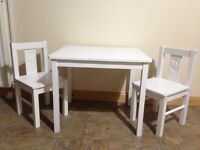 Kids white table and two chairs