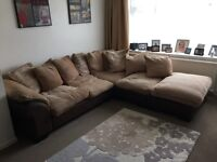Large corner sofa with pufee