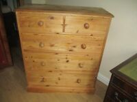 Chest of solid Waxed pine 2 over 3 very spacious drawers