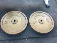 40kg Standard Weight Plates - 2 x 20kg