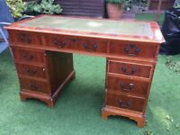 YEW DOUBLE PEDESTAL DESK with DARK GREEN LEATHER inlay top