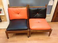 4 x solid oak chairs orange black