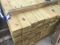 Timber decking boards pressure treated