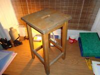 Old wooden science lab stool