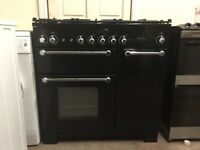 Rangemaster Kitchener 90 dual fuel gas cooker 90cm black FSD double oven 3 months warranty free loca