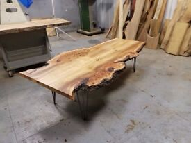 Bespoke Elm Coffee Table with 3 prong hairpin legs