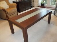 2 Coffee tables for sale. Dark wood with glass inlay.