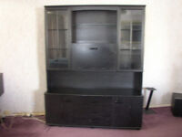 "BLACK ILLUMINATED DISPLAY CABINET WITH 2 CUPBOARDS 3 DRAWS &COCKTAIL CUPBOARD 59"" W 72"" H 18""D"