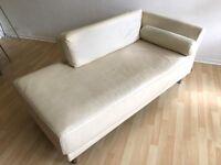 Habitat Cream Leather Left-Arm Chaise Lounge