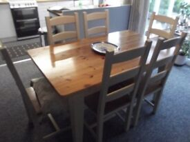 Pine and Ivory colour Dining Table and six chairs in Beech
