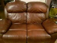 2 and 3 seater leather reclining sofa's