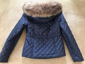 BEAUTIFUL NAVY BLUE JACKET WITH FUR HOOD ONLY WORE ONCE