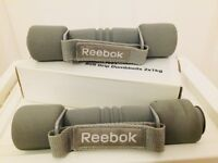 2 x 1kg Reebok Soft Grip Dumbells - never used, great condition
