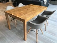 Solid Wood Dining Table & Designer Chairs - PERFECT CONDITION