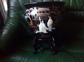 Oriental large fishbowl with stand forsale