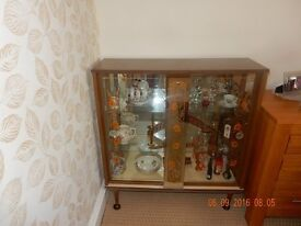 1960's vintage glass fronted china cabinet.