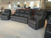 G PLAN NESTON THREE PIECE SUITE BROWN CHOCOLATE LEATHER 3 SEATER SOFA AND 2 ARMCHAIRS RISE RECLINER