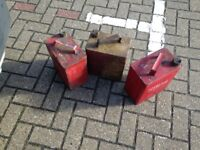 Three old BP Shell Petrol Cans as is untouched