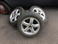 SET OF SAAB 9-5 ALLOY WHEELS- WITH GREAT WINTER TYRES