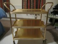 Vintage 1960's Retro Gold Tray 3 Tier Wheel Hostess Tea Drinks Trolley Bar Cart in excellent .......