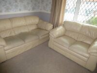 three and two sofa in cream leather