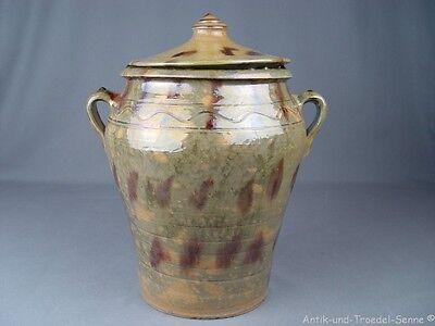 schöner alter Topf mit Deckel Keramik grün