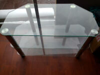 glass tv stand unit silver and clear glass