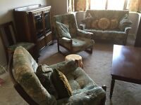 Sofa with 2 armchairs/2 matching dining chairs