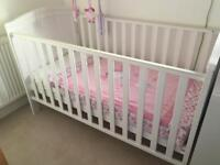 White cot - cotbed with mattress - Great Condition - collection Ely