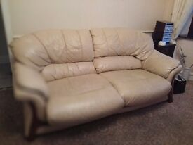 Large cream leather sofa & swivel reclining chair for sale