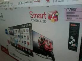 """LG 47"""" 3d led smart tv boxed spares or repairs broken screen"""