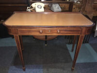 Lovely Antique Edwardian Mahogany Inlaid Leather Top Desk/Side Table with Drawer