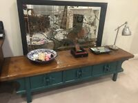 NEED TO SELL ASAP! Antique Hand Made Rustic Balinese table/ tv stand Unit Solid wood.