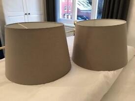 Pair of large, ikea lampshades in fawn