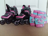 Girls In-line skates with knee and elbow pads