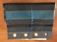 Ring Top Lined Curtains - Blue/Green Stripe