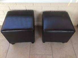 2 Faux leather stools
