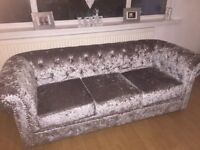 Hand made crushed velvet 3 + 1 seater sofa.
