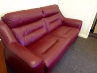 Designer Berry leather sofa 3 seater + 2 seater sofa (35) £799