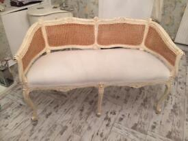 French/shabby chic rattan 2 seater