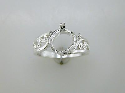 Oval Split Prong Offset Filigree Solitaire Ring Setting Sterling (Filigree Prong)