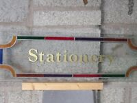 Stained glass stationery sign