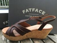 Fat Face Heather Curve Leather Dark Brown Wedge Sandals. Size 5