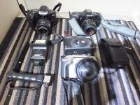 Several 35mm cameras
