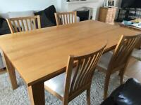 Next Stamford solid birch dining table and 4 cream faux chairs
