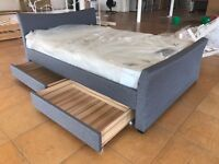 GREY FABRIC CLOTH 4 DRAWER STORAGE BED FRAME BLACK BROWN LEATHER KING DOUBLE SIZE 4FT6 5FT NEW