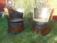 Antique Oak Barrel Seats (Matching Pair) - Very Rare - Hand Crafted