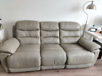 DFS Landos genuine leather electric power recliner sofa - 3 seater grey couch
