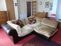 Corner sofa units, half leather.