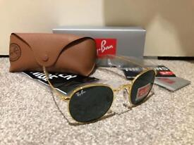 Ray-Ban Round MetalSunglasses (RB3447), Gold Frame With Blue/Gray Lens